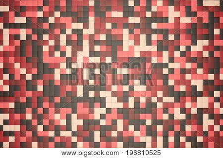 3d illustration: mosaic abstract background, colored blocks brown, red, pink, beige, rose, yellow color. Range of shades. small squares, cell. Wall of cubes. Pixels art. flat