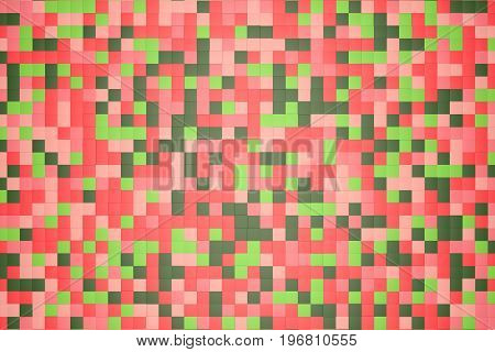 3d illustration: mosaic abstract background, colored blocks red, rose, pink, light and dark green, verdant, leafy, emerald color. Range of shades. small squares, cell. Wall of cubes. Pixels art.Flat