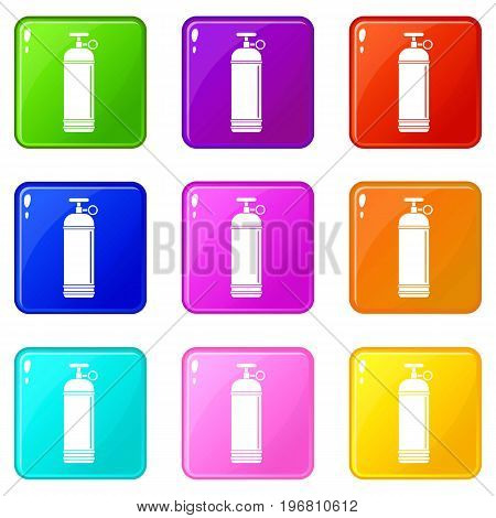 Compressed gas container icons of 9 color set isolated vector illustration