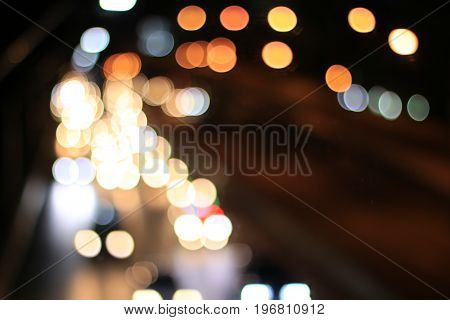 Bokeh Abstract Background From Car In Street In Night Time. Elegant Abstract Background With Bokeh D