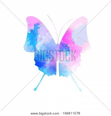 Watercolor imitation butterfly in pink and blue colors. Vector illustration.