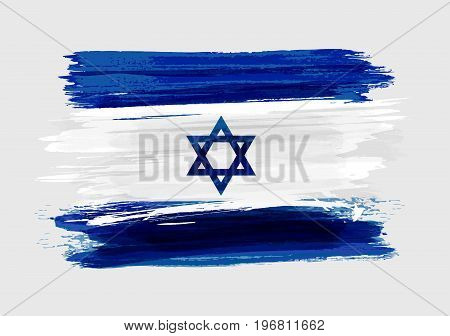 Israel national grunge watercolor brushed flag for your designs.