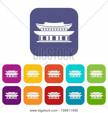 Gyeongbokgung palace, symbol of Seoul icons set vector illustration in flat style in colors red, blue, green, and other