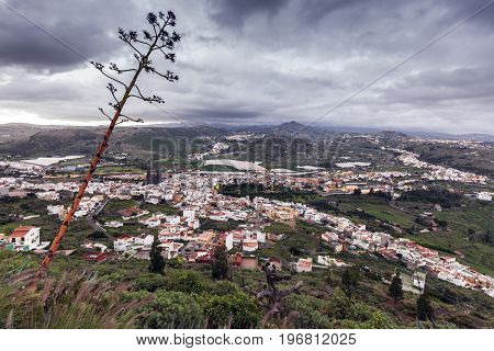 Gran Canaria panorama at sunrise. Arucas Gran Canaria Canary Islands Spain.