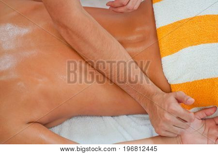 Lower Back Massage, Top View, Color Image, Horizontal Image