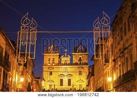 Braga Cathedral at dawn. Braga Norte Region Portugal.