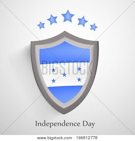 illustration of shield in Honduras flag background and stars with Happy Independence day text on the occasion of Honduras Independence Day
