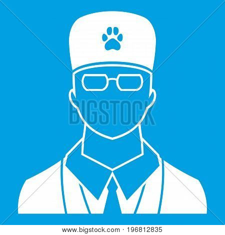 Veterinarian icon white isolated on blue background vector illustration