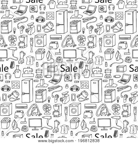Sale household appliances hand drawn seamless pattern. Wallpaper of doodle seamless equipment. Coloring page.