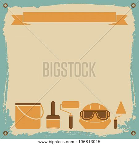 Redecoration worker background with brush paint and helmet flat vector illustration