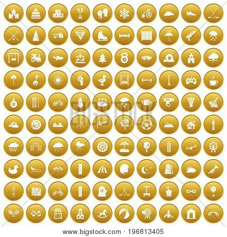100 kids games icons set in gold circle isolated on white vector illustration