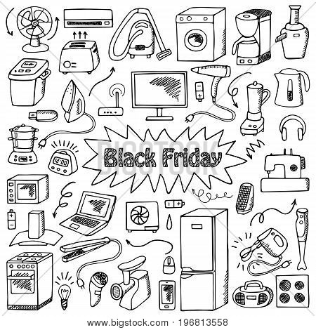 Black Friday household appliances hand drawn collection. Pattern of sketch equipment with doodle elements. Coloring page.