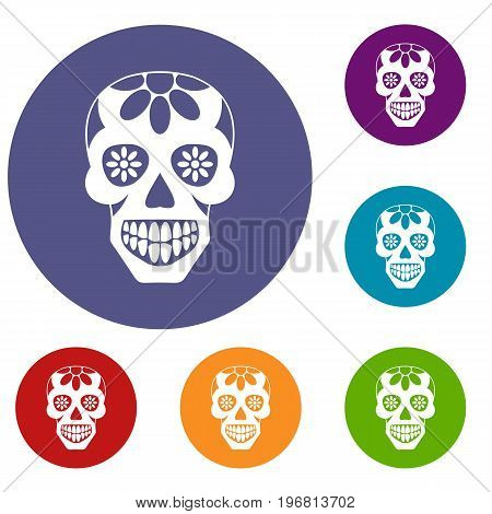 Sugar skull, flowers on the skull icons set in flat circle red, blue and green color for web
