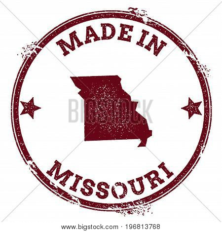 Missouri Vector Seal. Vintage Usa State Map Stamp. Grunge Rubber Stamp With Made In Missouri Text An