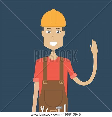 Engineer Character Male | set of vector character illustration use for human, profession, business, marketing and much more.The set can be used for several purposes like: websites, print templates, presentation templates, and promotional materials.