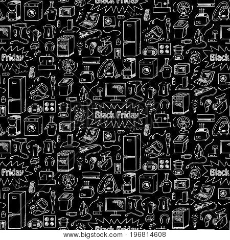 Black Friday household appliances hand drawn seamless pattern. Wallpaper of sketch equipment with doodle elements on black background.