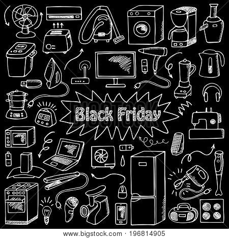 Black Friday household appliances hand drawn collection. Pattern of sketch equipment with doodle elements on black background.