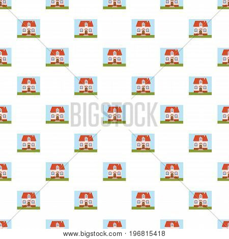 House pattern seamless repeat in cartoon style vector illustration