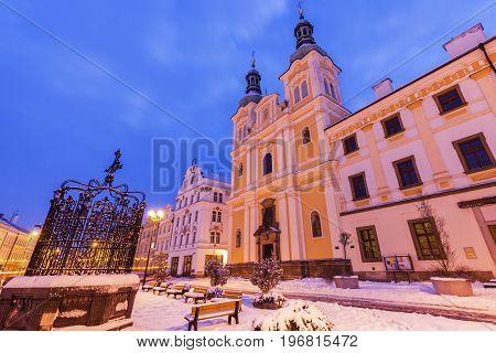 Virgin Mary Assumption Church on Main Square in Hradec Kralove. Hradec Kralove Bohemia Czech Republic.