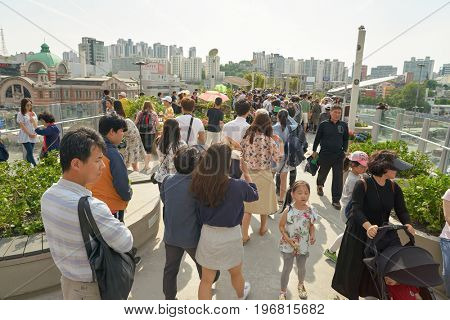 SEOUL, SOUTH KOREA - MAY 20, 2017: Seoul 7017 Skypark at opening day. The Seoullo 7017 Skypark, is an elevated linear park in central Seoul  which opened on May 20, 2017.