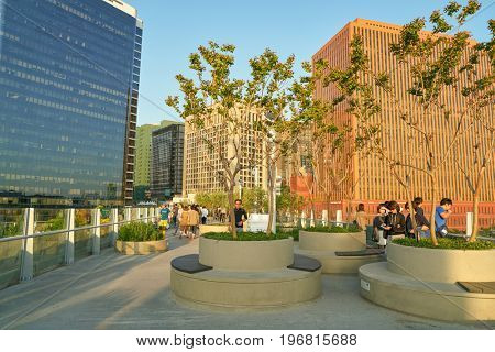 SEOUL, SOUTH KOREA -  JUNE 01, 2017: Seoul 7017 Skypark at daytime. The Seoullo 7017 Skypark, is an elevated linear park in central Seoul  which opened on May 20, 2017.
