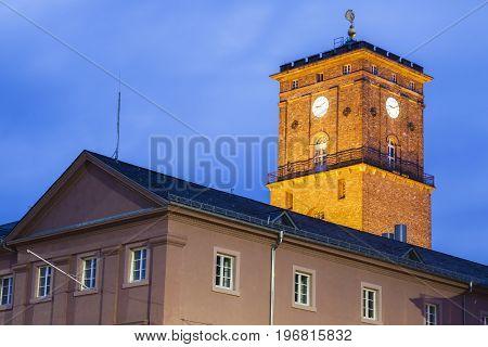 Karlsruhe City Hall at night. Baden-Wurttemberg Germany.