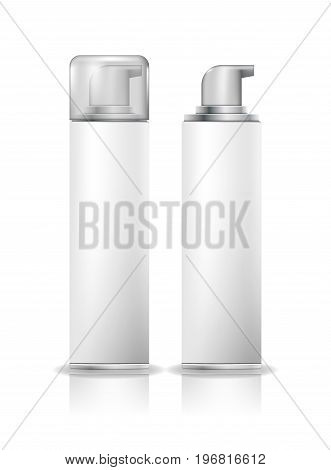 Shaving foam cosmetic bottle sprayer container. Spray for shaving, container with gel for shaving.