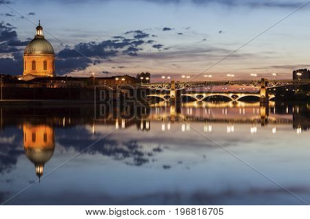 Hospital of La Grave and Pont Saint Pierre in Toulouse. Toulouse Occitanie France.