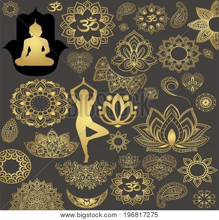 A large set of gold stickers in Indian style. Religion and Buddhism - meditation, prayer and relaxation. Decorations and amulets