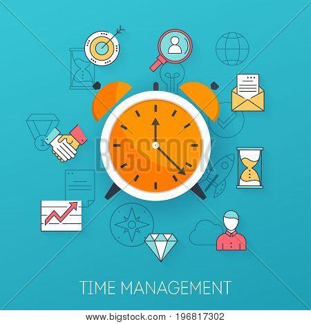 Time management. Planning time organization of working day. Flat design modern vector illustration concept.