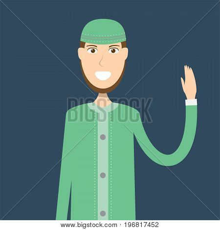 Lecturer Moeslim Character | set of vector character illustration use for human, profession, business, marketing and much more.The set can be used for several purposes like: websites, print templates, presentation templates, and promotional materials.