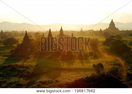 Amazing sunset in mystical Bagan, Myanmar, Asia