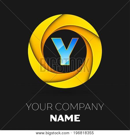 Realistic Letter Y vector logo symbol in the colorful circle on black background. Vector template for your design