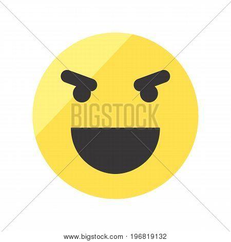 Evil laugh smiley vector icon. Isolated emoji smiley.