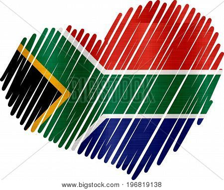 heart south africa metallic texture illustration  national
