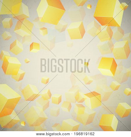 Abstract cubes set background with realistic 3d yellow cubes on grey gradient vector illustration