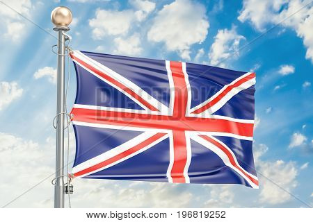 British flag waving in blue cloudy sky 3D rendering