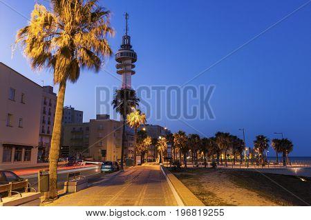 Panorama of Cadiz at nigth. Cadiz Andalusia Spain.