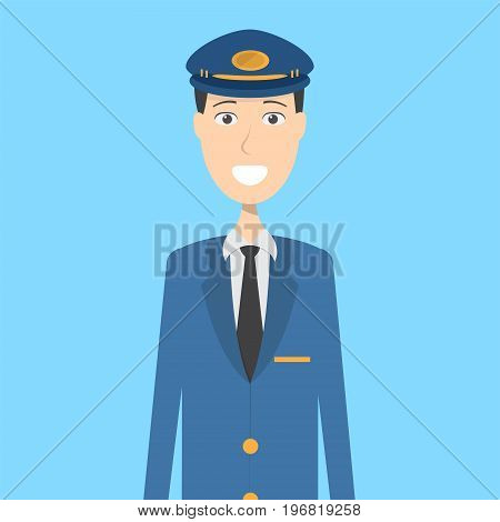 Pilot Character Male | set of vector character illustration use for human, profession, business, marketing and much more.The set can be used for several purposes like: websites, print templates, presentation templates, and promotional materials.