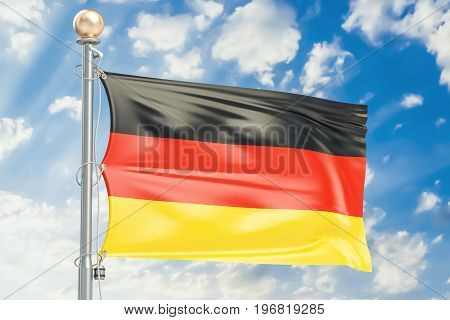 German flag waving in blue cloudy sky 3D rendering