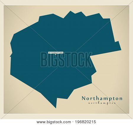 Modern Map - Northampton District Of Northamptonshire England Uk Illustration