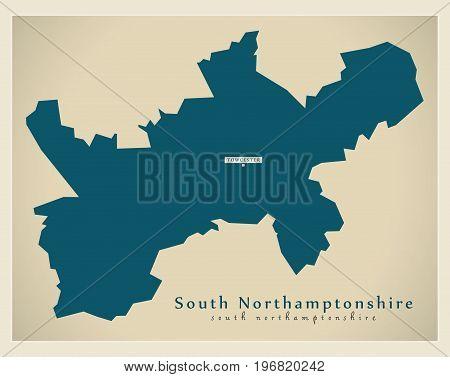 Modern Map - South Northamptonshire District England Uk Illustration