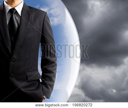 businessman with insurance concept, coverage from risk