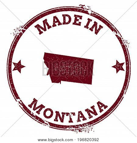 Montana Vector Seal. Vintage Usa State Map Stamp. Grunge Rubber Stamp With Made In Montana Text And