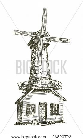 old windmill. vector sketch on white background