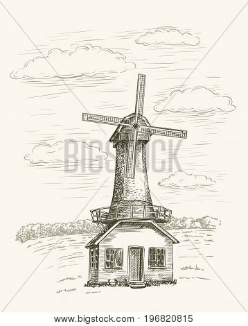 windmill windmill on a background of farmlands. vector illustration