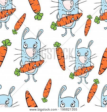 Bunnies Cartoon Seamless Pattern, Hand Drawing, Vector Background. Funny Painted Rabbit With A Carro