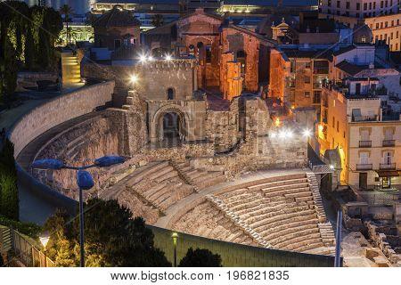 Roman Theatre in Cartagena. Cartagena Murcia Spain.