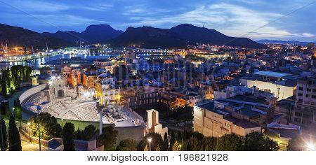 Architecture of Cartagena seen at night. Cartagena Murcia Spain.