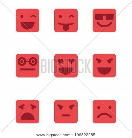 Squared emoticons vector icons set on isolated white background.